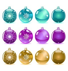 Multicolored Christmas balls Set 3 of 4 vector image