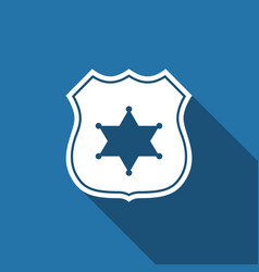 police badge flat icon with long shadow vector image vector image