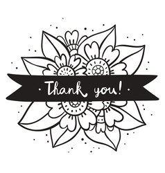 Thank you black flowers vector image vector image