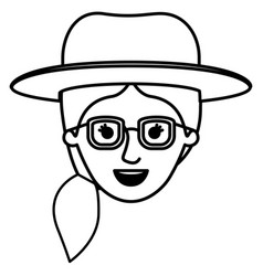 female face with glasses and hat and pigtail vector image vector image