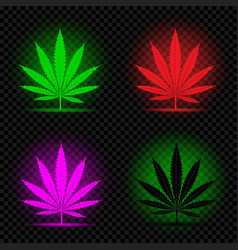 neon hemp leaf icon set vector image vector image