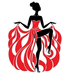 Young beautiful dancer girl in red dress vector image