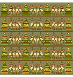 Christmas background with funny elks vector image vector image