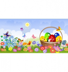 Easter basket on the lawn vector image