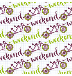 hand drawn seamless pattern with bikes and vector image vector image