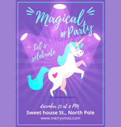 party poster with unicorn vector image