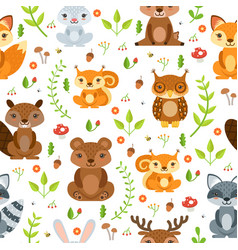 seamless pattern of forest animals and vector image vector image