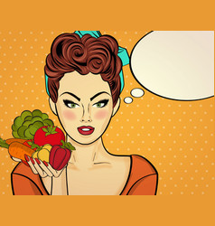 Sexy pop art woman with vegetables in his hand vector
