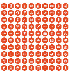 100 plane icons hexagon orange vector