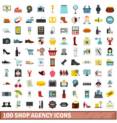 100 shop agency icons set flat style vector