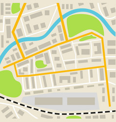 Abstract city map with roads houses parks and a vector