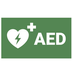 Aed sign emergency first aid defibrillator sign vector