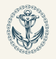 Anchor with ropes in circle chain vector