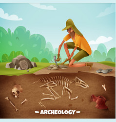 Archeologist outdoor expedition background vector