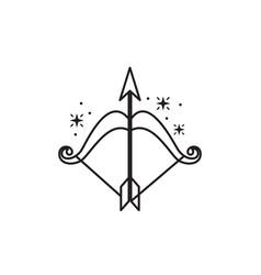 Archery bow arrow fantasy line design vector