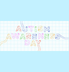 Autism awareness day colorful children hand quote vector