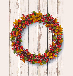 autumn wreath on a wooden background thanksgiving vector image