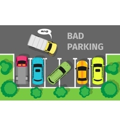 Bad Parking Top View vector image