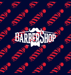 barber shop logo on seamless pattern with barber vector image