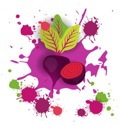 Beet vegetable logo watercolor splash design fresh vector