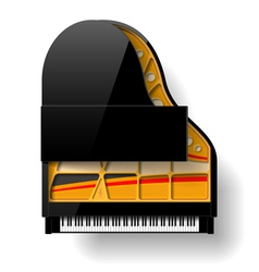 Black grand piano with open top vector image