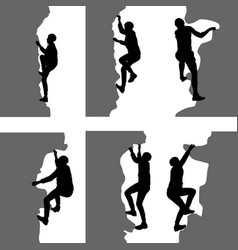 black set silhouette rock climber on white vector image