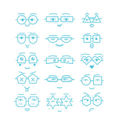 Blue emoticons faces with different eyeglasses vector