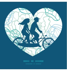 blue line art flowers couple on tandem vector image