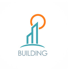Building sun logo vector