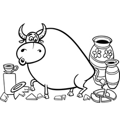 Bull in a china shop coloring page vector