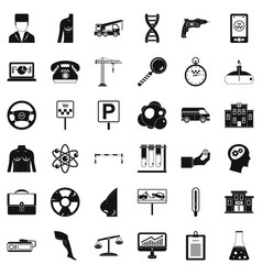 business equipment icons set simple style vector image