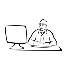 Business man working on computer vector image