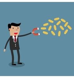 businessman with magnet and Gold coinor vector image