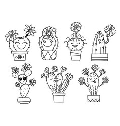 cactuses and succulents with happy vector image