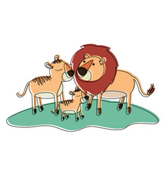 Cartoon lions couple and cub over grass in vector