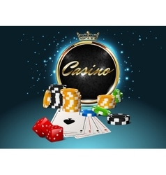 Casino golden frame with crown stack poker chips vector