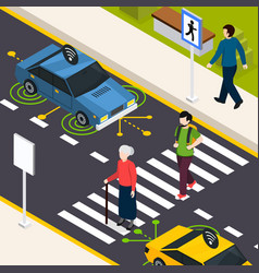 city crosswalk isometric background vector image