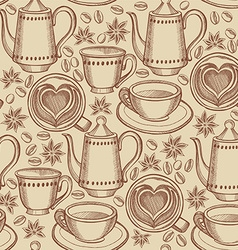 Coffee and tea seamless pattern background vector