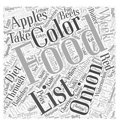 Color through Food and Diet Word Cloud Concept vector