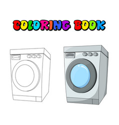 coloring book cartoon washing machine design vector image