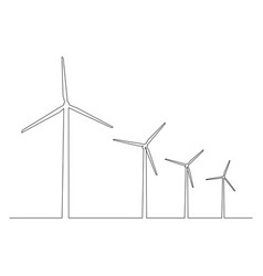 continuous one line wind turbines wind power vector image
