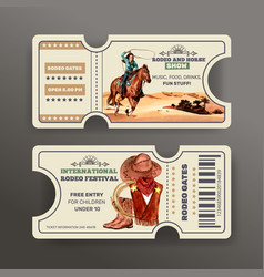 Cowboy ticket design with horse woman hat boots vector