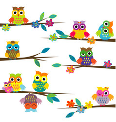 Cute cartoon owls on tree branch vector