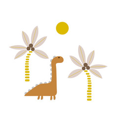 Cute dino and palm tree for vector