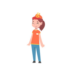 Cute girl dressed as fast food seller or pizza vector