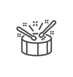 Drums with drumsticks line icon music sign vector