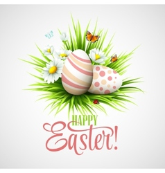 Easter card with eggs and flowers vector image