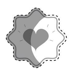 Emblem symbol beautiful heart of love vector