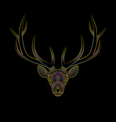 engraving stylized psychedelic deer on black vector image