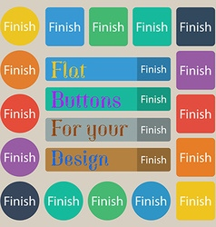Finish sign icon Power button Set of twenty vector
